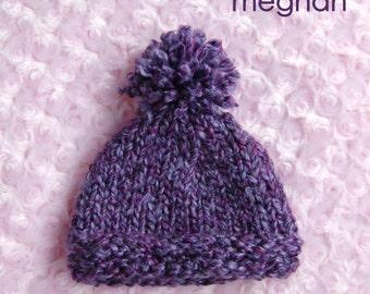 Hand Knit Baby Girl Hat with Pom Pom, Knit Newborn Hat, Newborn Photo Prop, Baby Girl Hat, purple
