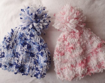 Hand Knit Baby Boy or Girl Hat, Twin Set Available, Knit Newborn Hat, Newborn Photo Prop, Baby Boy Hat, Baby girl hat, Twin baby hats