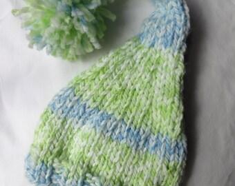 Hand Knit Baby Boy Hat, Knit Newborn Hat, Newborn Photo Prop, Baby Boy Hat, Blue Green Gnome style hat