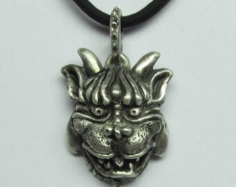 """Mystical And Whimsical Hand-Carved Sterling Silver Necklaces, """" The Gargoyle VI"""""""