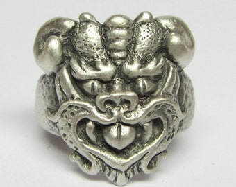 """Mystical and Whimsical Hand-Carved Sterling Silver Rings, """"The Gargoyle VI"""""""