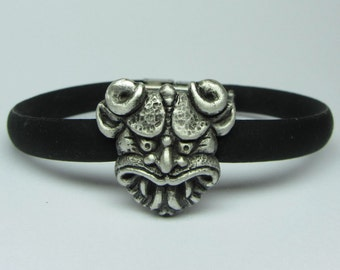 """Mystical And Whimsical Hand-Carved Sterling Silver Bracelet Clip-Ons, """"The Gargoyle VI"""""""