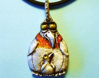 """Whimsical Silver Penguins Necklace """"Snow Birds"""" on Rubber Cord"""