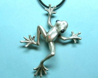 """Silver Frog Necklace With Pearl Eyes On Silicone Rubber Cord """"Froggz Only"""" Collection - """"Ziley"""""""