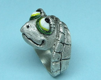 """Whimsical Silver Turtle Head Ring """"Stickin' My neck Out"""""""