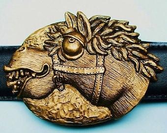 "Whimsical Bronze Horse Belt Buckle ""Stellar Stallion"""