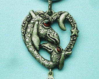 """Whimsical Silver Giraffes Necklace """"Sweet Dreams"""" With Cubic Zirconium Drop"""