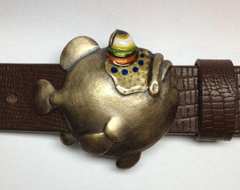 "Whimsical Bronze Fish Belt Buckle, ""Got 'em by the Gills"""