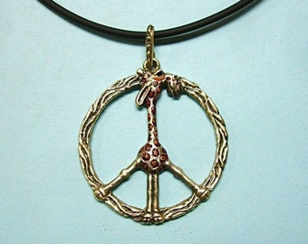 """Whimsical Silver Necklace """"Giraffe In Peace"""""""