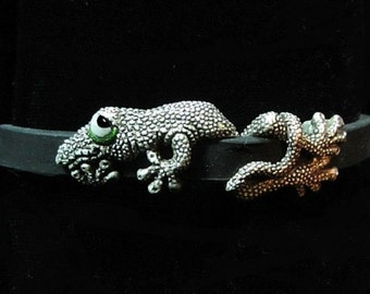 """Whimsical Silver Gecko Bracelet """" Tail After Tail After Tail"""" On Silicone Rubber With Steel Clasp"""
