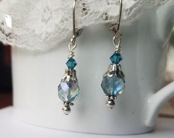 Aqua Blue Earrings Blue Czech glass Earrings Vintage Style Earrings Blue jewelry Blue Earrings Light blue earrings
