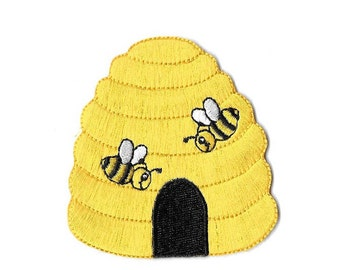 Beehive - Bumblebee - Bumble Bee - Bee - Honey - Embroidered Iron On Applique Patch