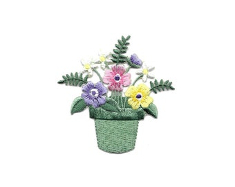 Country Pink Purple Gingham Smiling Flower Embroidery Patch