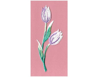 "Spring 2 1//2/""H Garden Tulips Embroidered Iron On Applique Patch"