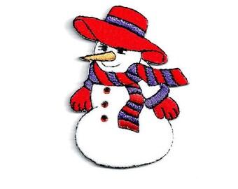 SNOWMAN Iron On Patch Winter Snow Snowmen
