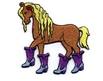 aea2aabe808e5 Horse - Cowgirl Boots - Mare - Filly - Western - Rodeo - Horse Show - Embroidered  Iron On Applique Patch