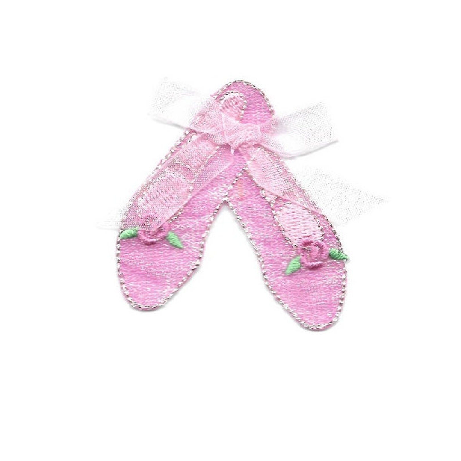 ballet - dance - pink ballet slippers w/bow - iron on applique patch