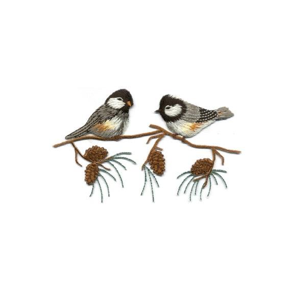 Branch Bird Watching Wild Embroidered Iron On Applique Patch Bird