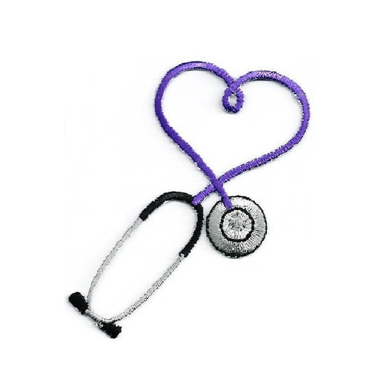 IRON ON PATCH//APPLIQUE Medical CRAFT PROJECTS Embroidered White Stethoscope