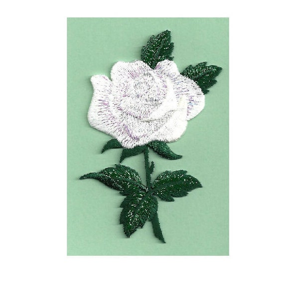 White Shimmering Embroidered Iron On Applique Patch Garden Flowers Rose
