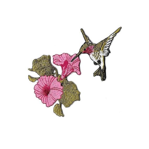Garden SM Embroidered Iron On Applique Patch Spring Bird Hummingbird