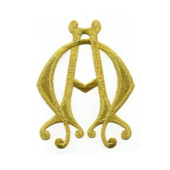 Alpha & Omega - Vestment - Liturgical - Church Ministry - Christian -  Banners - Altar - Gold Metallic Embroidered Iron On Patch