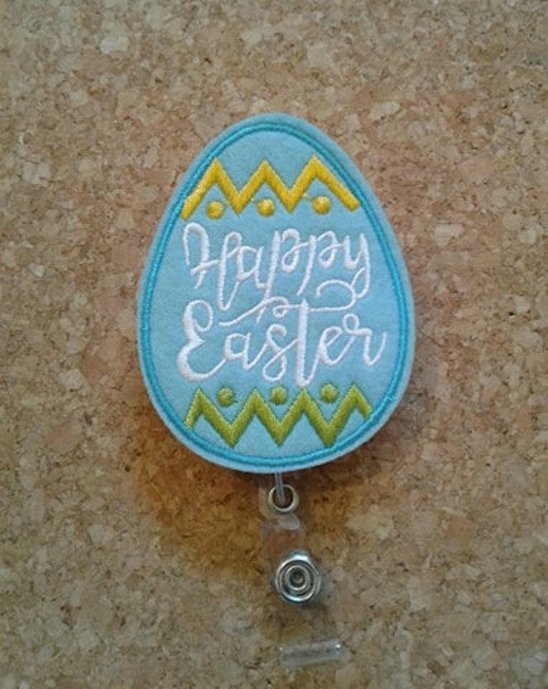 Happy Easter Nurse Easter Egg Pockets CNA Name Badge Holder Belts Blue Teacher Retractable ID Badge Reel