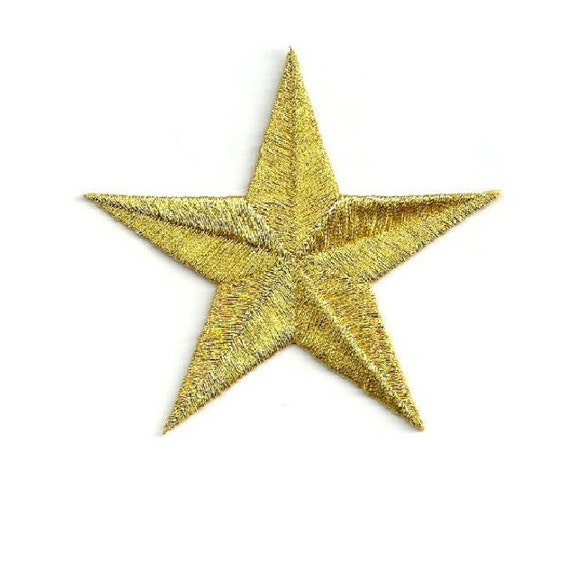 Embroidered Gold Metallic Stars Uniforms Flags Iron On Patches 1 58 School Costumes Gold Star Set Of 12
