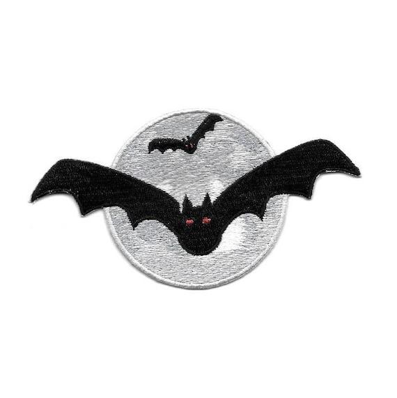 BAT HALLOWEEN BLACK BAT W//EMBROIDERED DETAILS IRON ON PATCH
