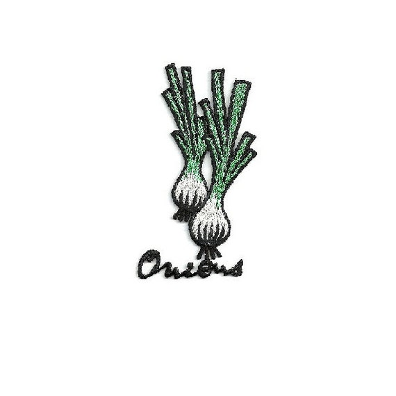 Chef Green Onions Food Set Of 2 Embroidered Iron On Patch Scallions