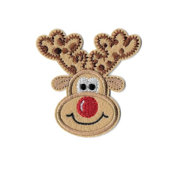 Lot of 2 Christmas Santa/'s Rudolph the Red Nosed Reindeer Embroidered Patch