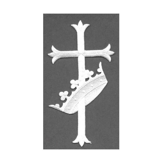 """Vestment 6/""""H Embroidered Iron On Patch Fleur Cross White W//Gold Church"""