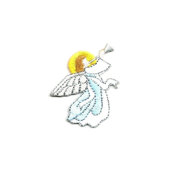 Angel Metallic Details Embroidered Iron On Applique Patch Christmas