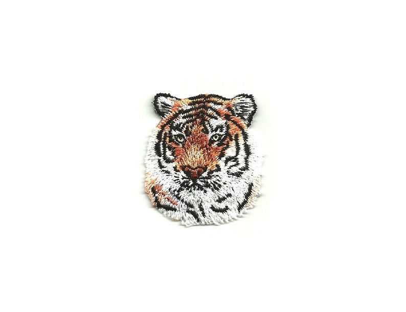TIGER Iron On Patch Wild Animal Zoo Jungle