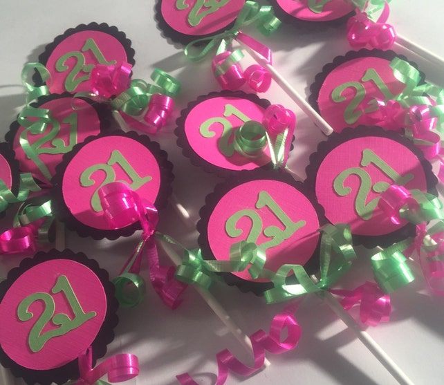 21st Birthday Decorations Cupcake Toppers