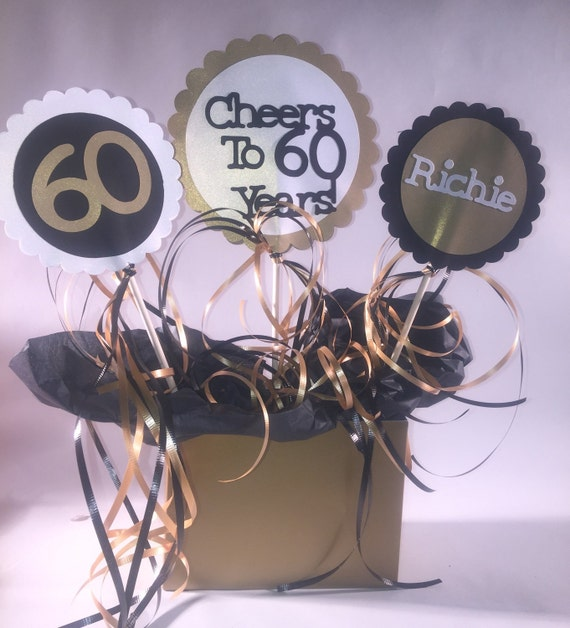 Items Similar To 60th Birthday Table Decorations 3 Piece Sign Set With Personalized Text And Party