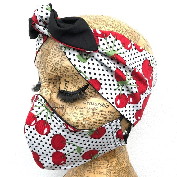 Cherries  Headscarf And Double Layered Face Mask Set