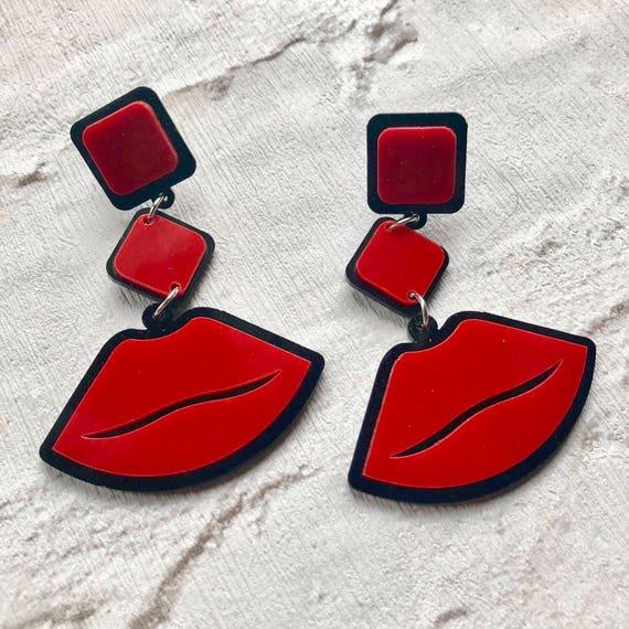 Red Lips Acrylic Dangle Earrings Rockabilly Retro