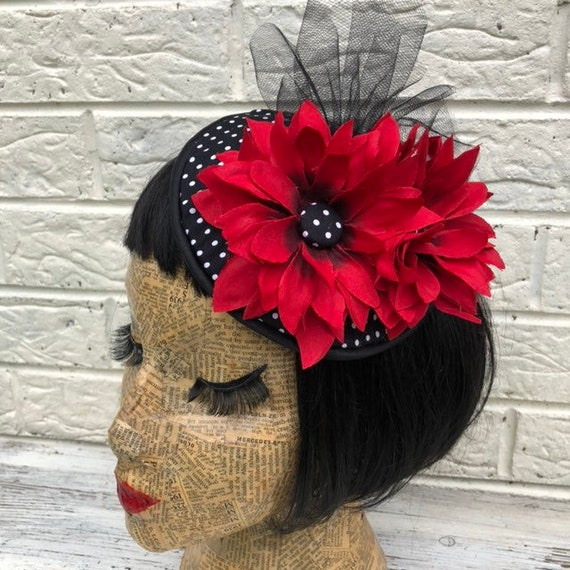 Black Polka Dot and Red Flower Fascinator Rockabilly Pinup 1950s Inspired