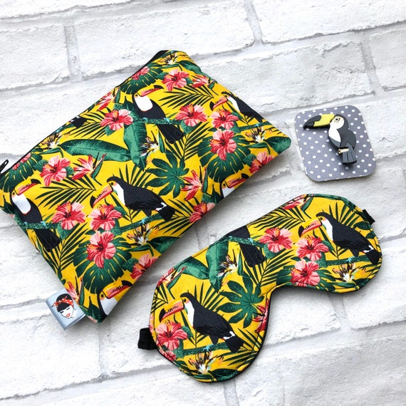 Toucan  Cosmetic Bag ,  Sleep Mask and Brooch Gift Set