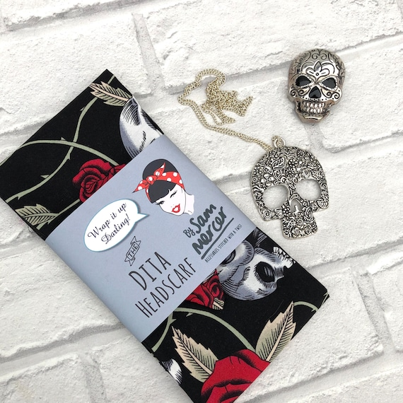 Skull Gift Box Headscarf  Necklace And  Brooch Rockabilly Pinup 1950's Inspired