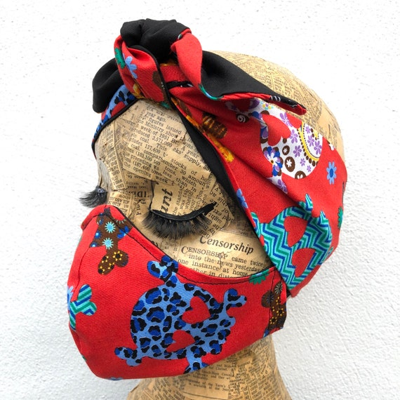 Sugar Skulls Headscarf And Face Mask Set Rockabilly Pinup Inspired