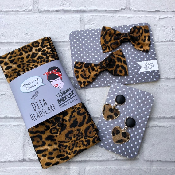 leopard Print Headacarf / Shorclips / Earrings Gift Set Rockabilly Pinup 1950's Inspired