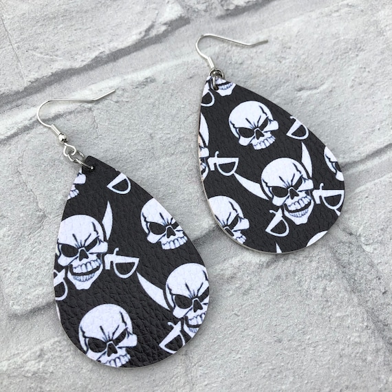 Skull Faux Leather Drop Earrings Rockabilly Pinup Inspired