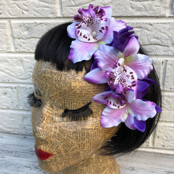 Purple Hair Flower Rockabilly Pinup 1950s Inspired