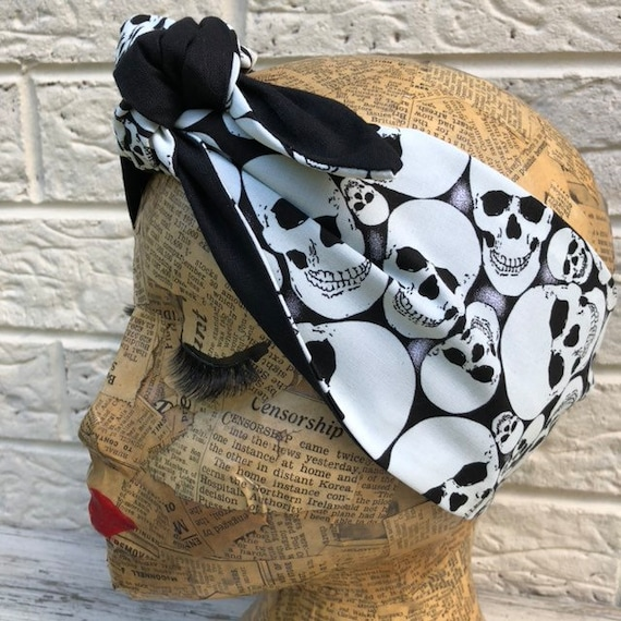 Skull Glow In The Dark Headscarf Rockabilly Pinup 1950's Inspired