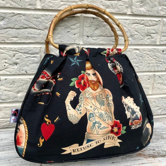 Linited Edition Tattoo Bearded Men Handbag Rockabilly Pinup 1950's Inspired