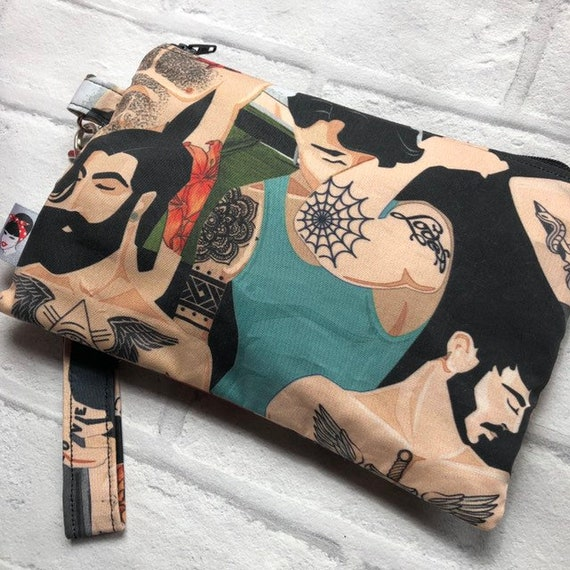 Bearded Men clutch Bag Rockabilly Pinup 1950's Inspired
