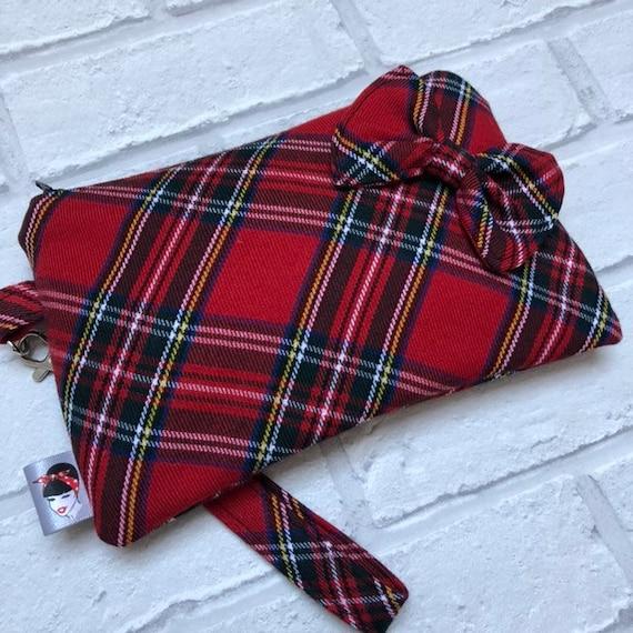 Royal Stewart Tartan Clutch Bag Rockabilly Pinup 1950s Inspired