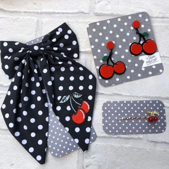 polka dot Cherry Bow tie Pin / Earrings/ hairslide Gift Set Rockabilly Pinup 1950's Inspired